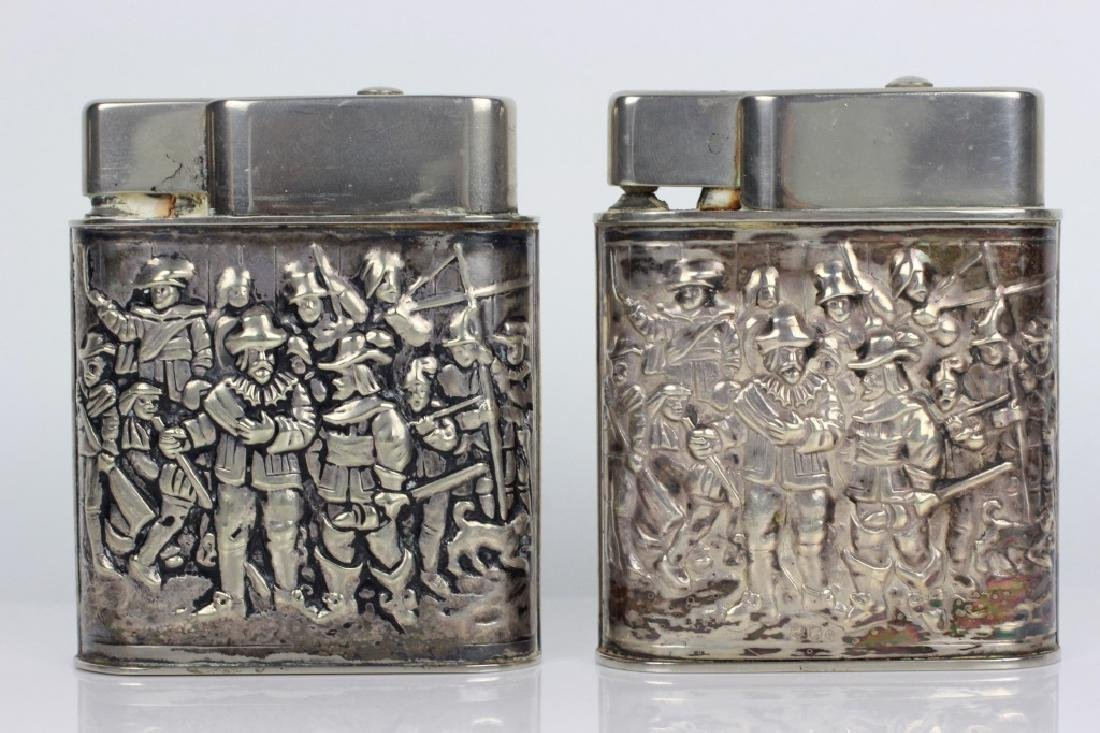 Pair of Dutch Silver Large Lighters