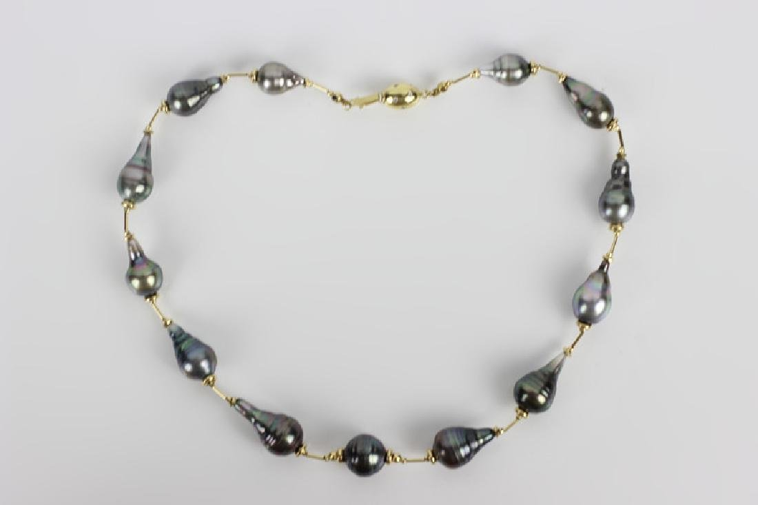 18k Gold & Diamond Freshwater Pearl Necklace