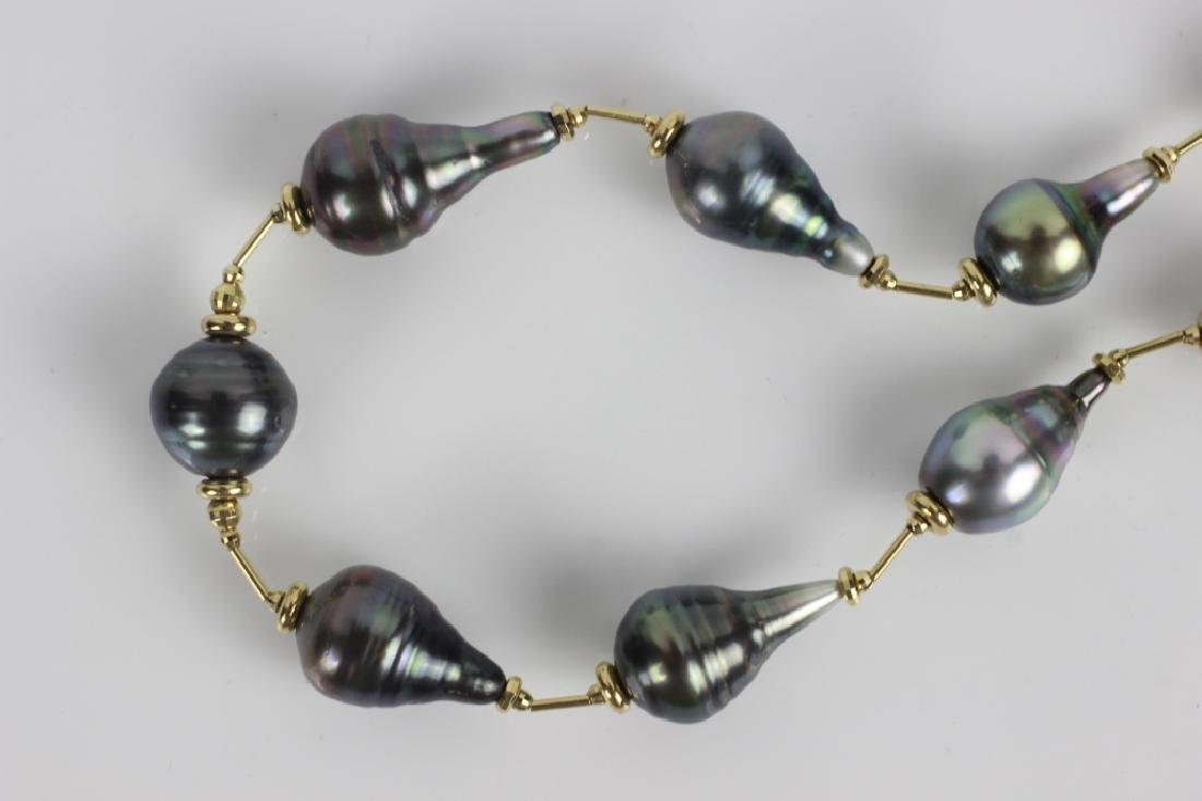 18k Gold & Diamond Freshwater Pearl Necklace - 2