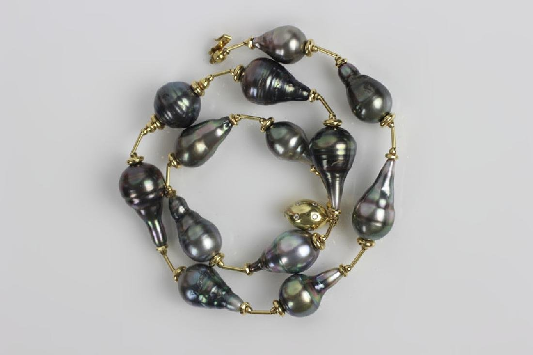 18k Gold & Diamond Freshwater Pearl Necklace - 3