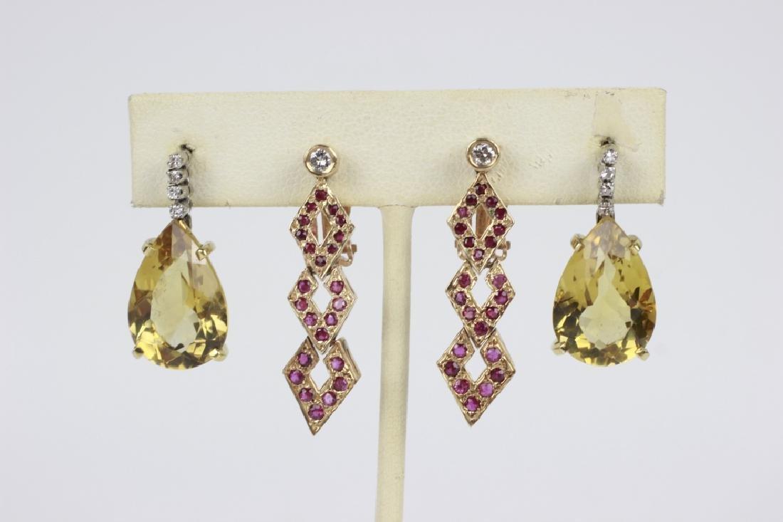 2 Pair of 14k Gold & Diamond Earrings