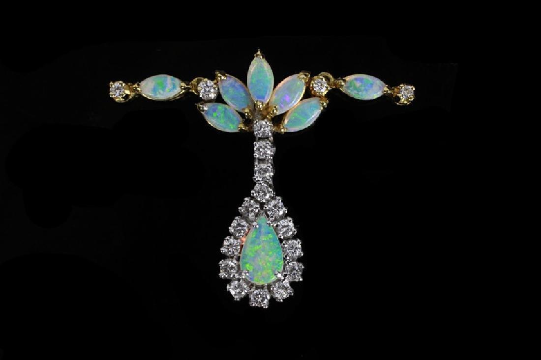 14k Gold, Diamond & Opal Pendant