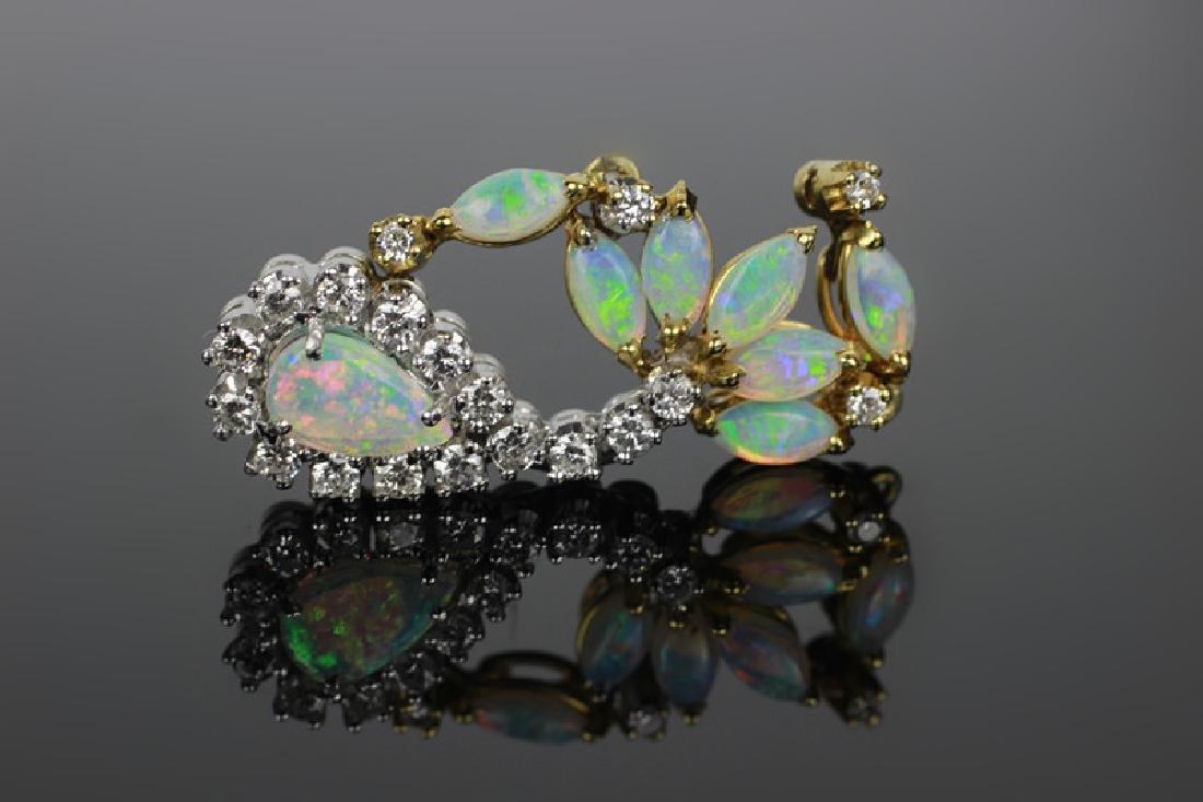 14k Gold, Diamond & Opal Pendant - 2