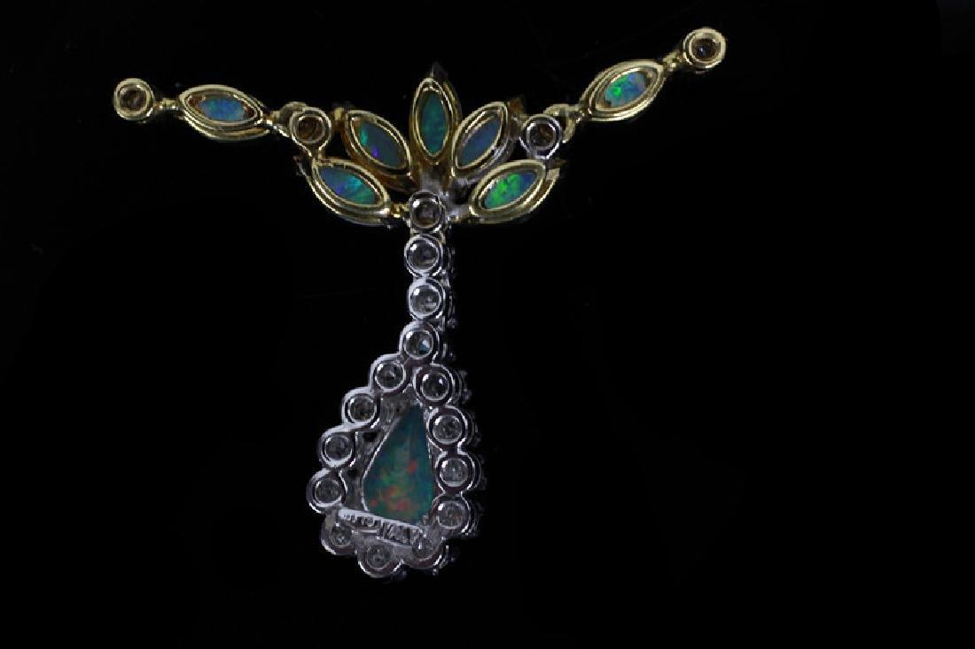 14k Gold, Diamond & Opal Pendant - 5