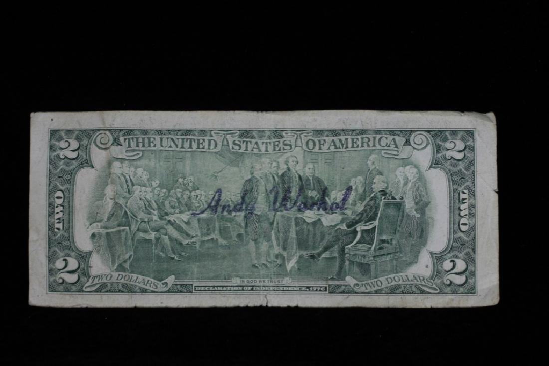 $2 Bill Signed & Stamped Andy Warhol - 2