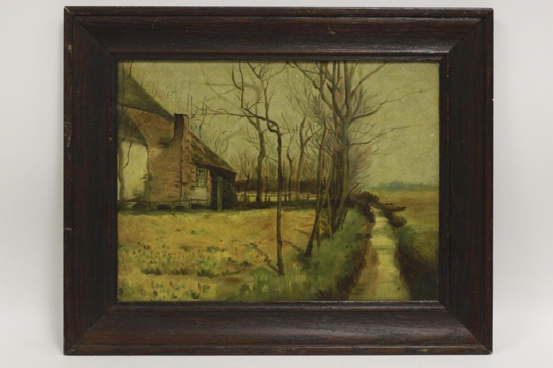 19thc Oil on Artist Board, House in Forest