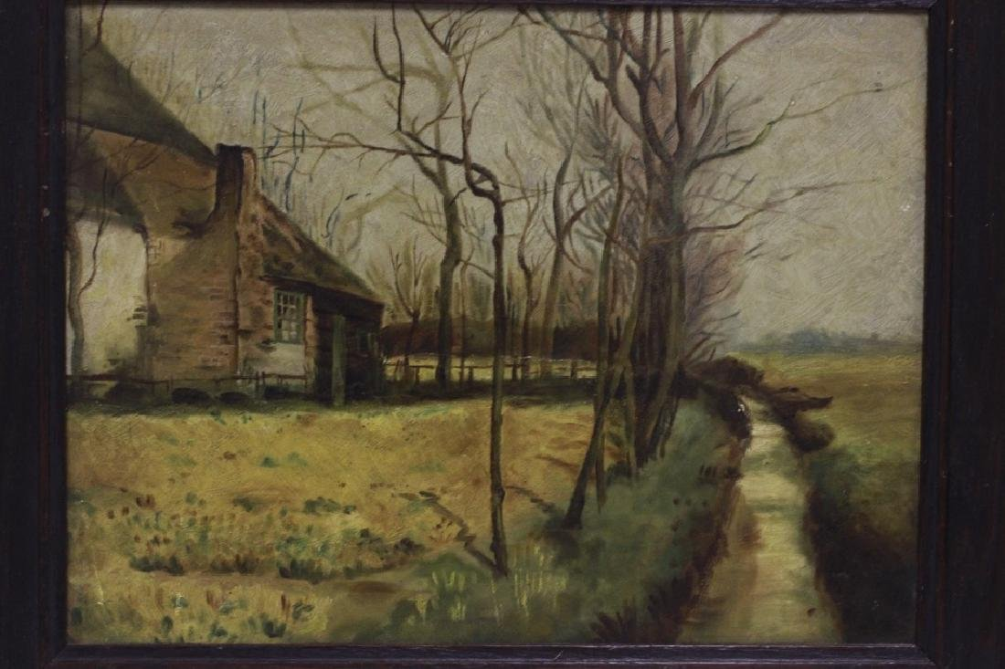 19thc Oil on Artist Board, House in Forest - 2