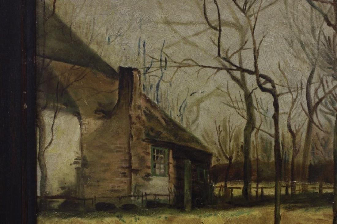 19thc Oil on Artist Board, House in Forest - 3