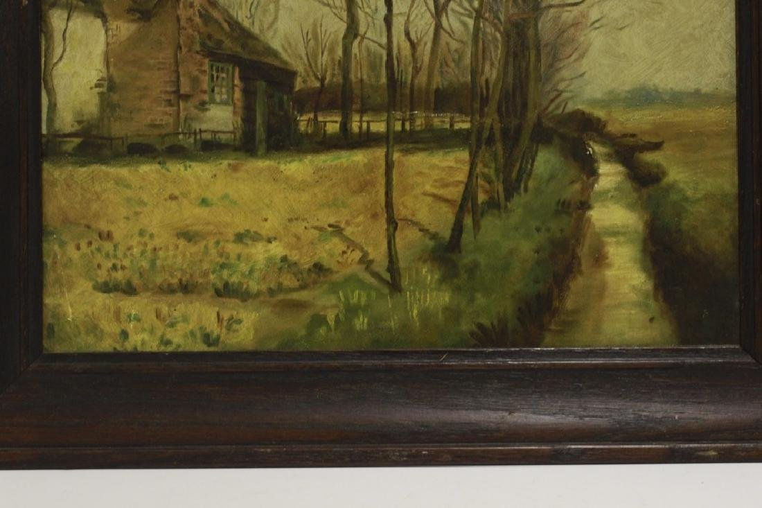 19thc Oil on Artist Board, House in Forest - 5