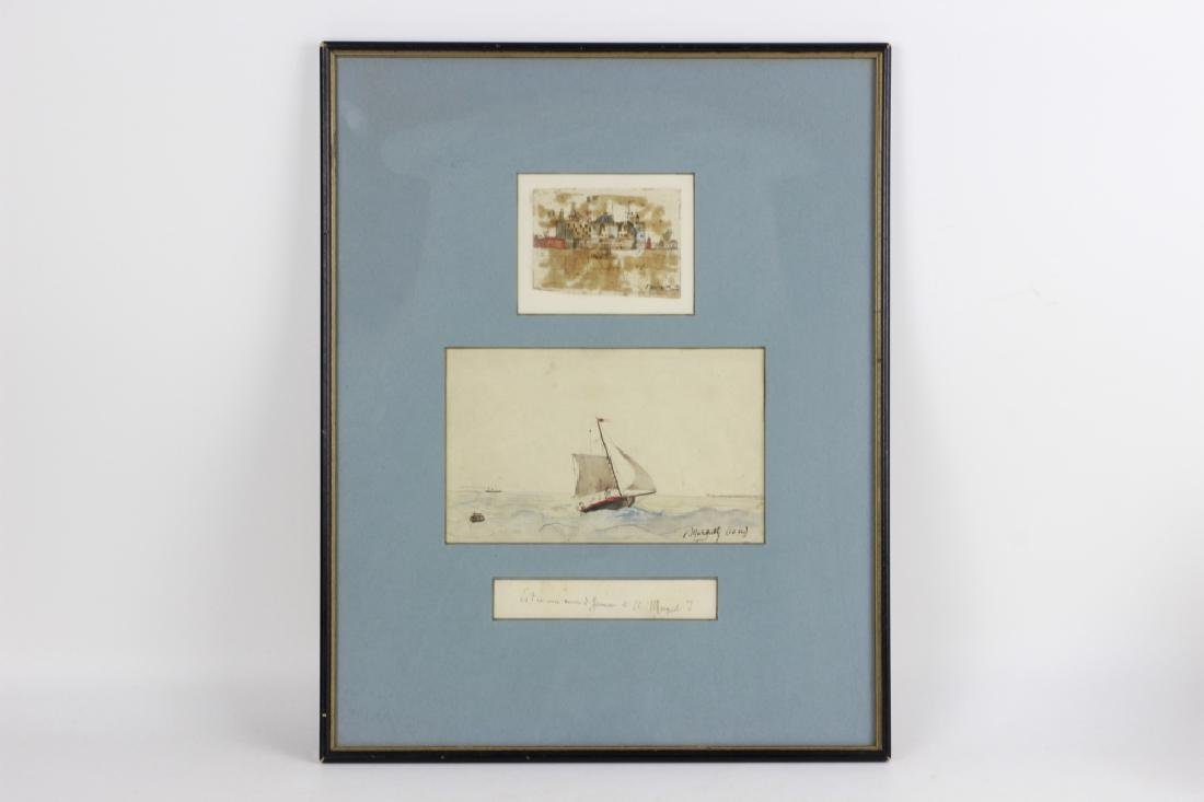 French Watercolor, 3 in Frame, Circa 1911