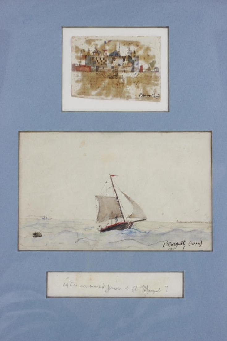 French Watercolor, 3 in Frame, Circa 1911 - 2