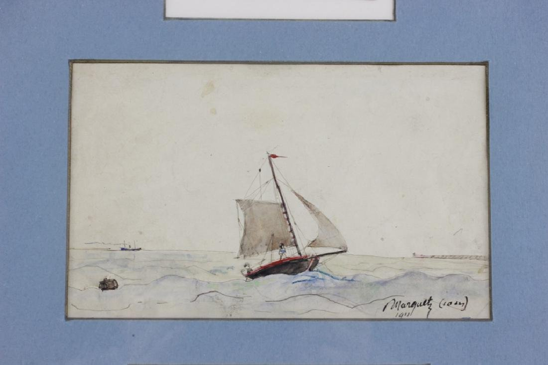 French Watercolor, 3 in Frame, Circa 1911 - 5