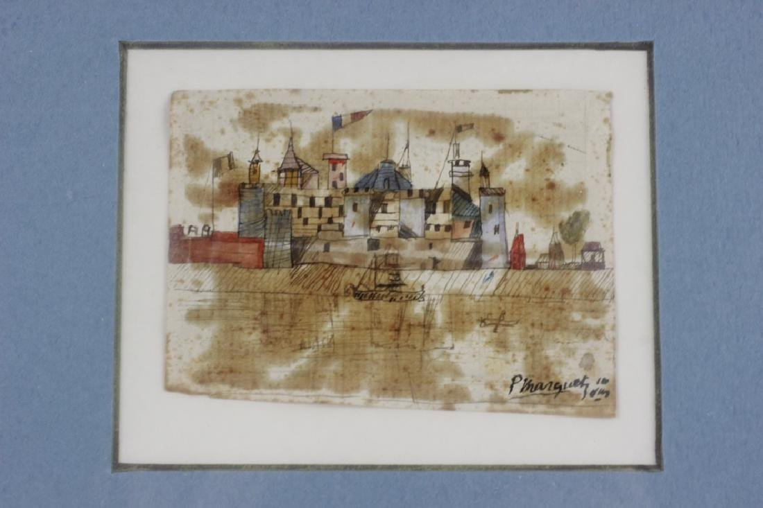 French Watercolor, 3 in Frame, Circa 1911 - 6
