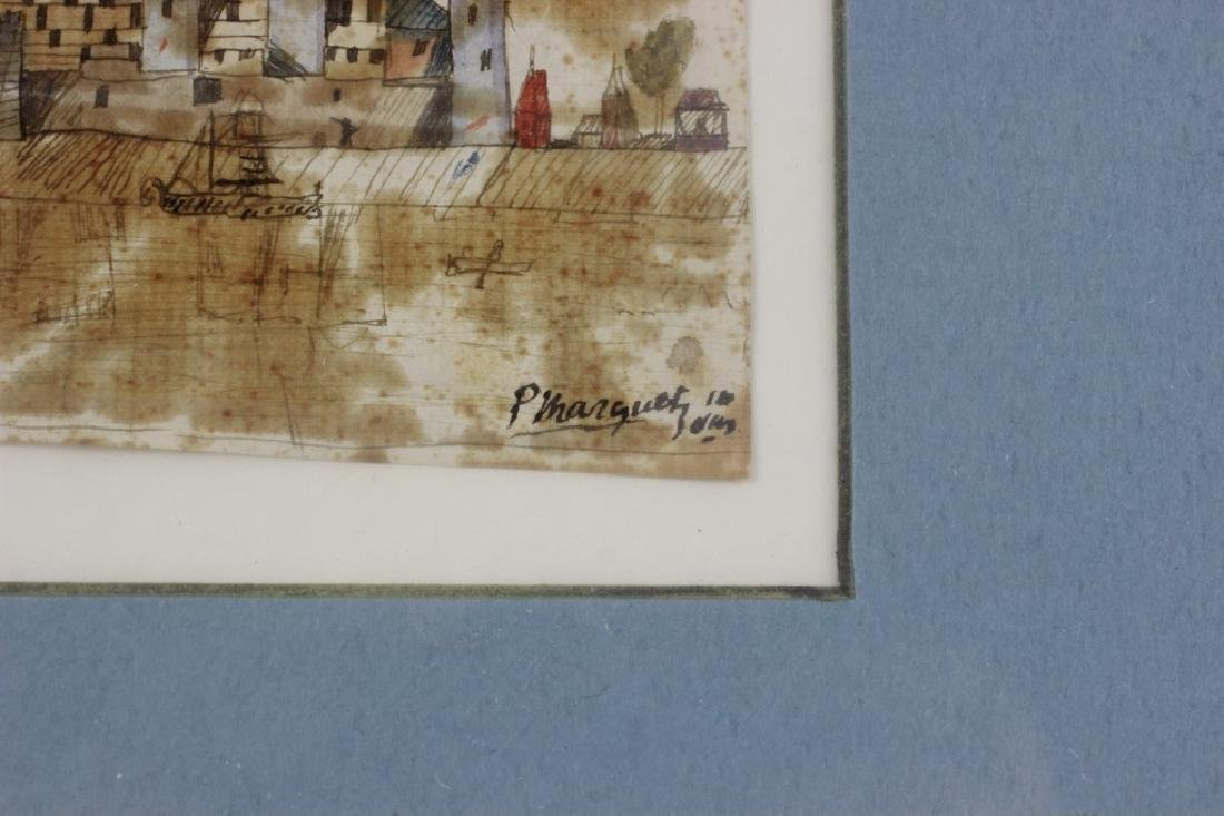 French Watercolor, 3 in Frame, Circa 1911 - 7