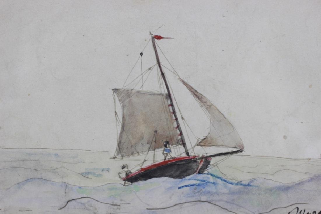 French Watercolor, 3 in Frame, Circa 1911 - 8