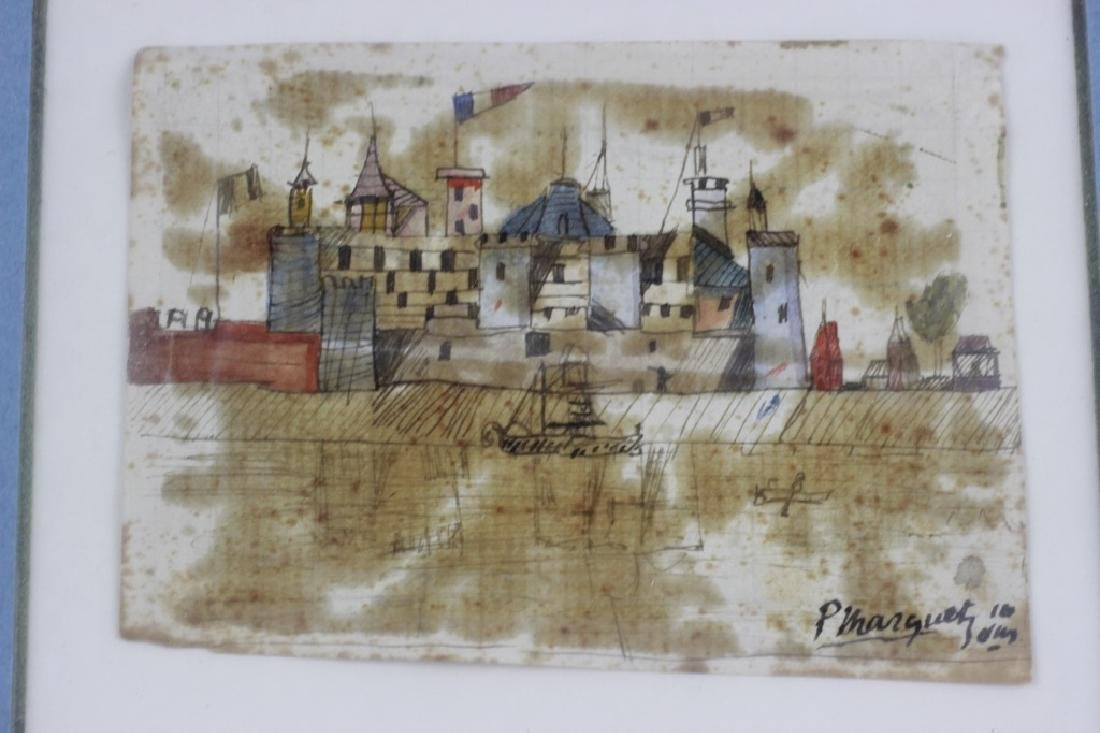 French Watercolor, 3 in Frame, Circa 1911 - 9