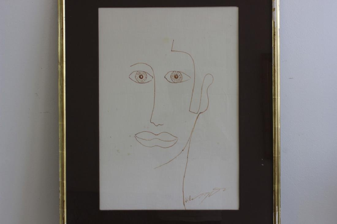 Ink or Marker on Paper Drawing of Face - 2