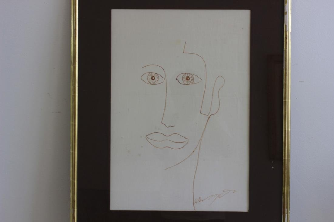 Ink or Marker on Paper Drawing of Face - 3