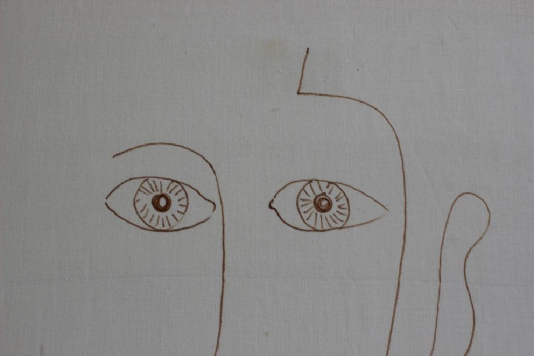 Ink or Marker on Paper Drawing of Face - 7