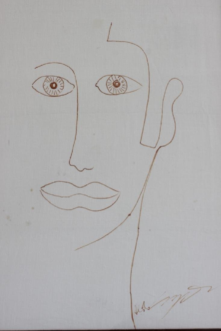 Ink or Marker on Paper Drawing of Face - 9