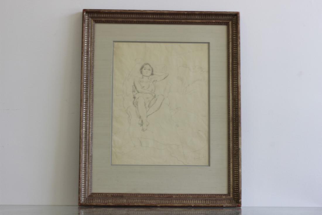 """Jules Pascin Pencil Drawing, """"Le Repos du Modele"""""""
