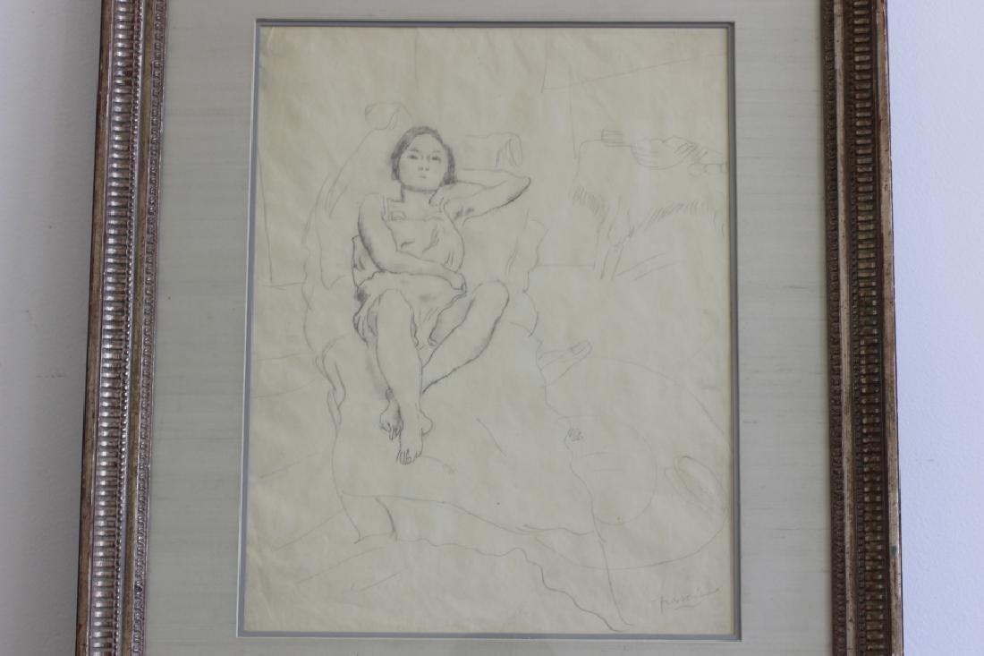 """Jules Pascin Pencil Drawing, """"Le Repos du Modele"""" - 3"""