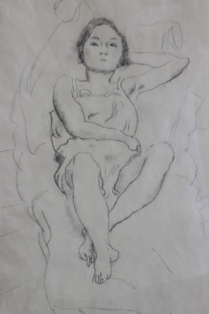 """Jules Pascin Pencil Drawing, """"Le Repos du Modele"""" - 4"""