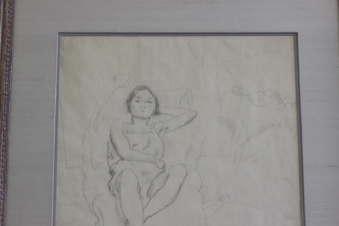 """Jules Pascin Pencil Drawing, """"Le Repos du Modele"""" - 5"""