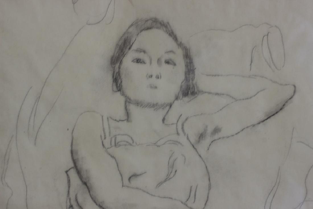 """Jules Pascin Pencil Drawing, """"Le Repos du Modele"""" - 6"""