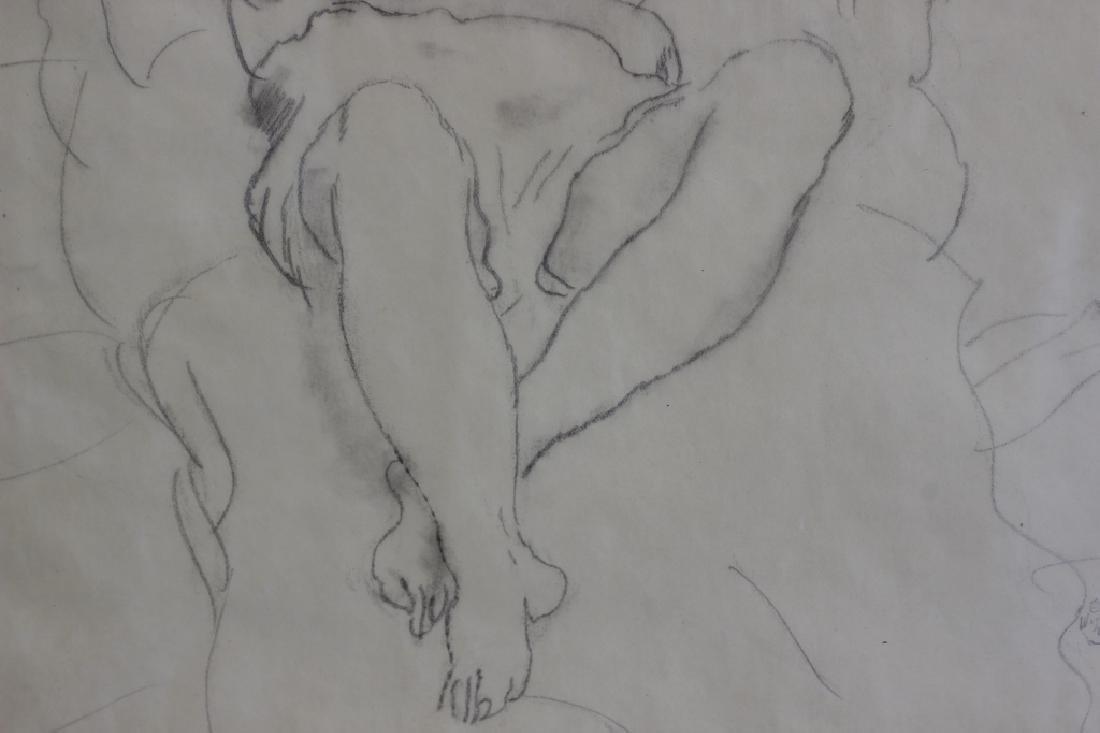 """Jules Pascin Pencil Drawing, """"Le Repos du Modele"""" - 7"""