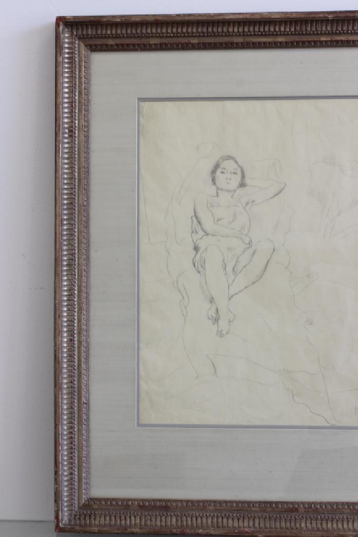 """Jules Pascin Pencil Drawing, """"Le Repos du Modele"""" - 9"""