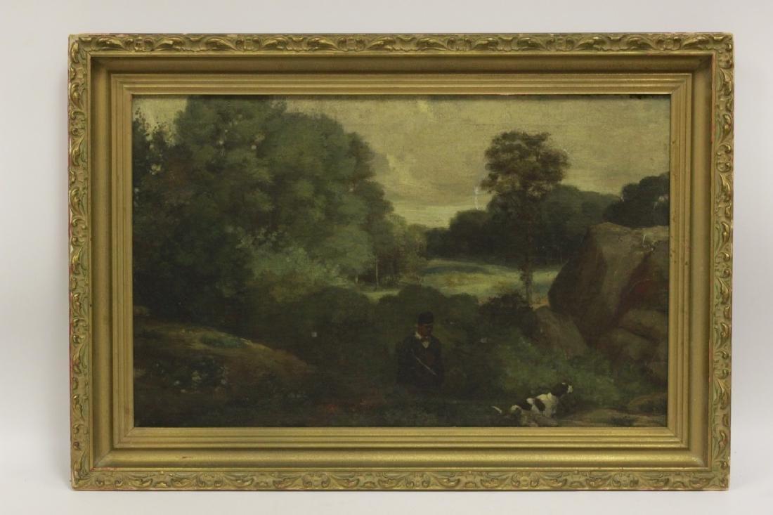 19thc O/B Man w/ Dog. Attributed to Gustav Courbet