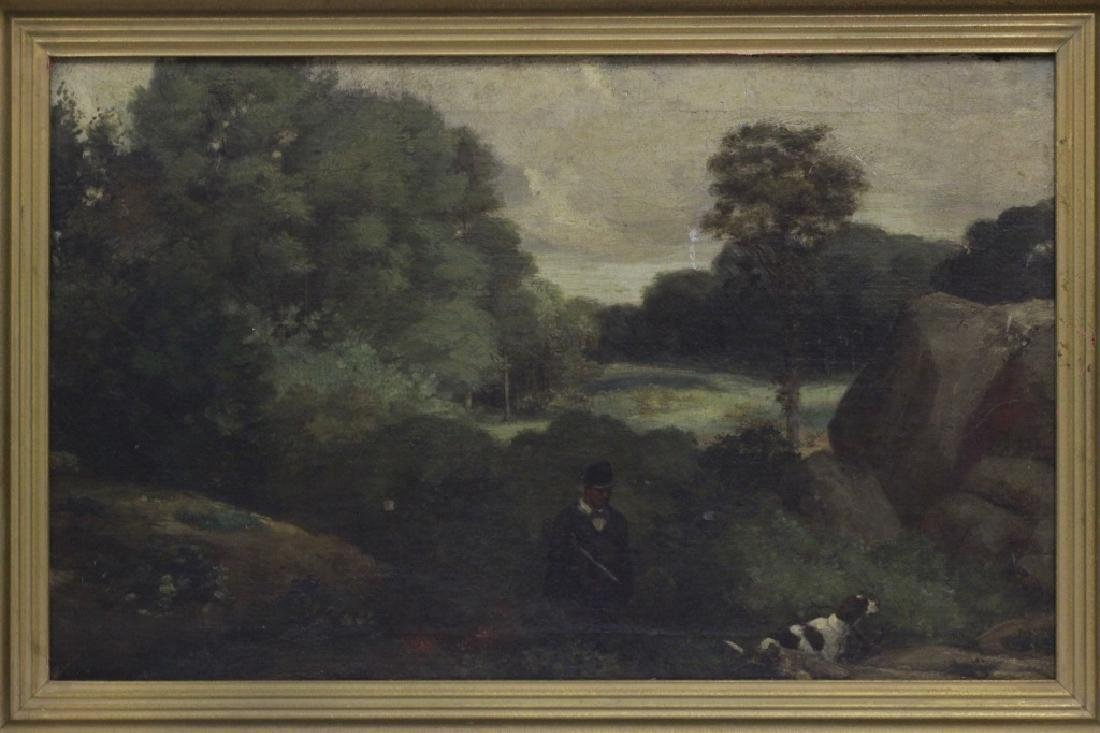 19thc O/B Man w/ Dog. Attributed to Gustav Courbet - 2