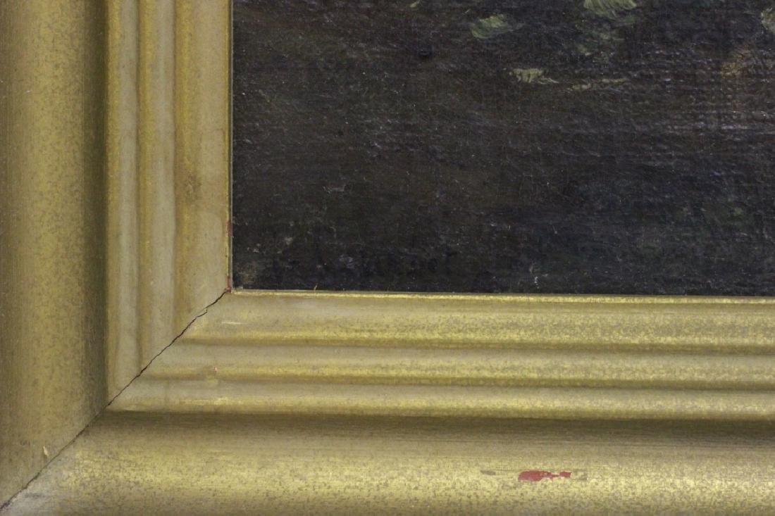 19thc O/B Man w/ Dog. Attributed to Gustav Courbet - 3