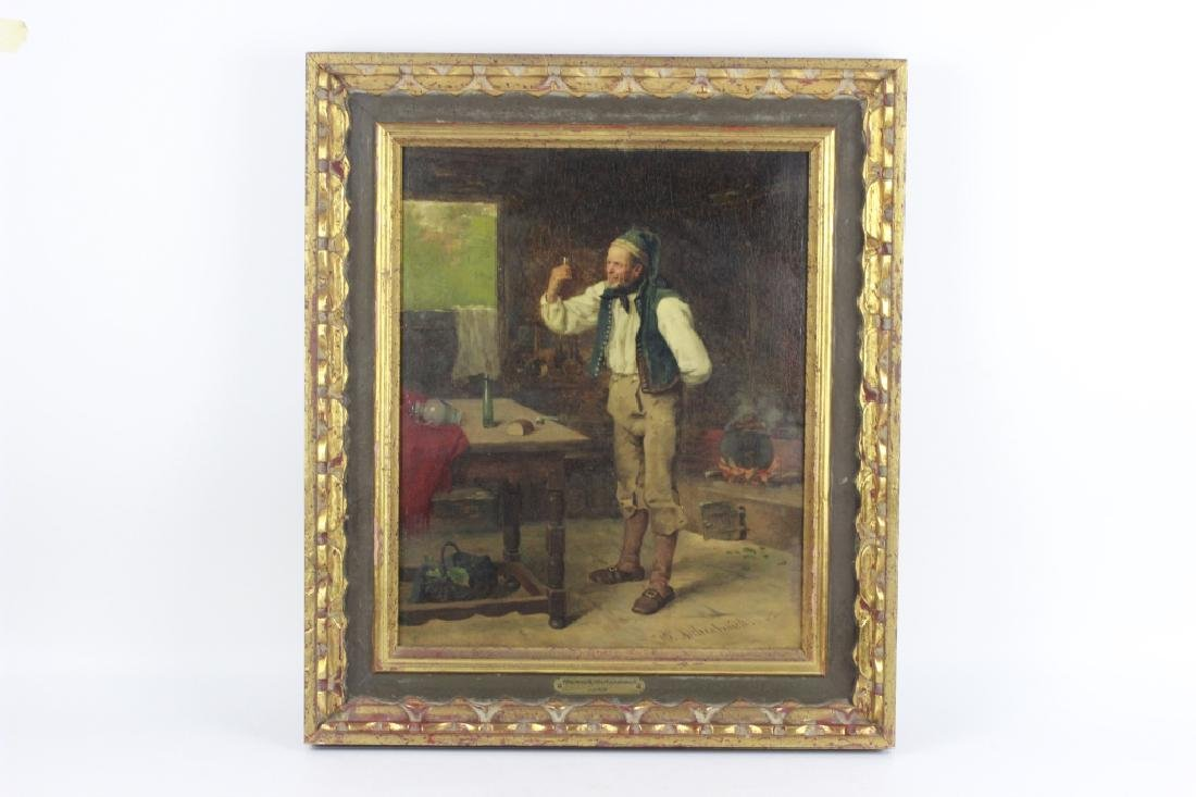 Heinrich Aschenbroich (1839-1909) O/B, Man w/ Cup