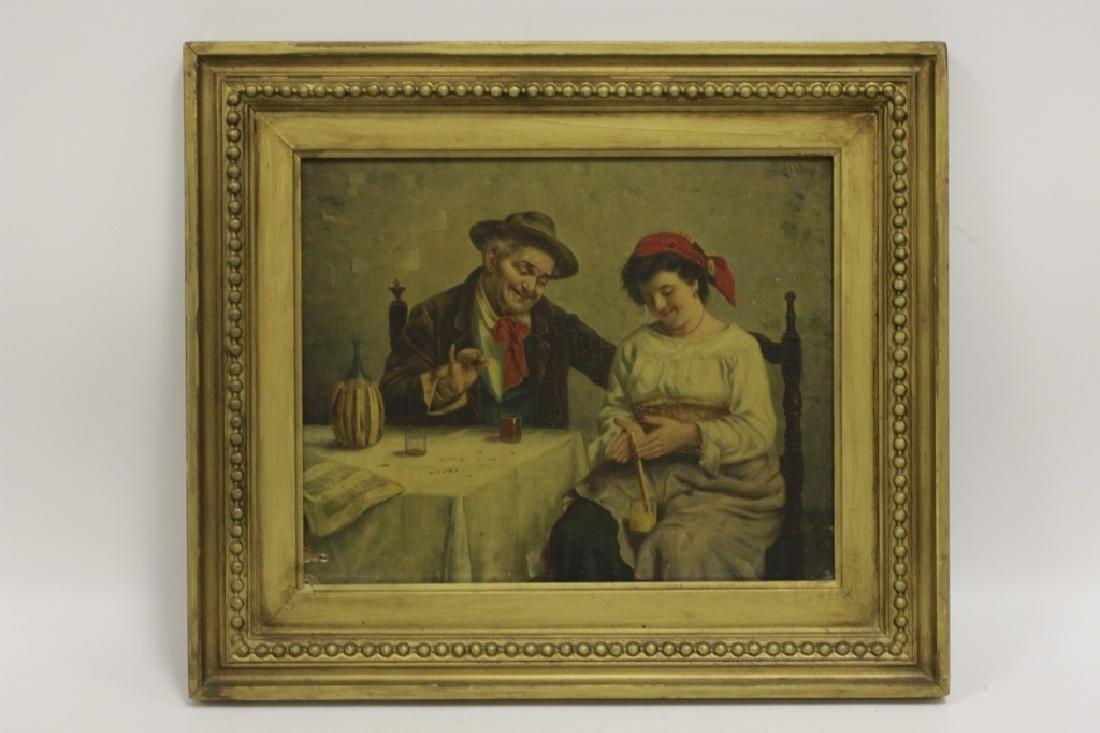 Oil on Board, Signed G. Albin, Man & Woman