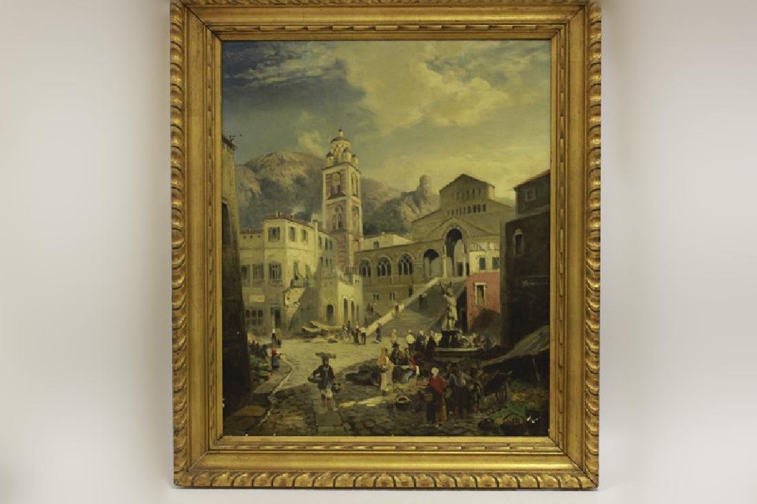 Alfred Montague (1832-1883) O/C Village Scene1869