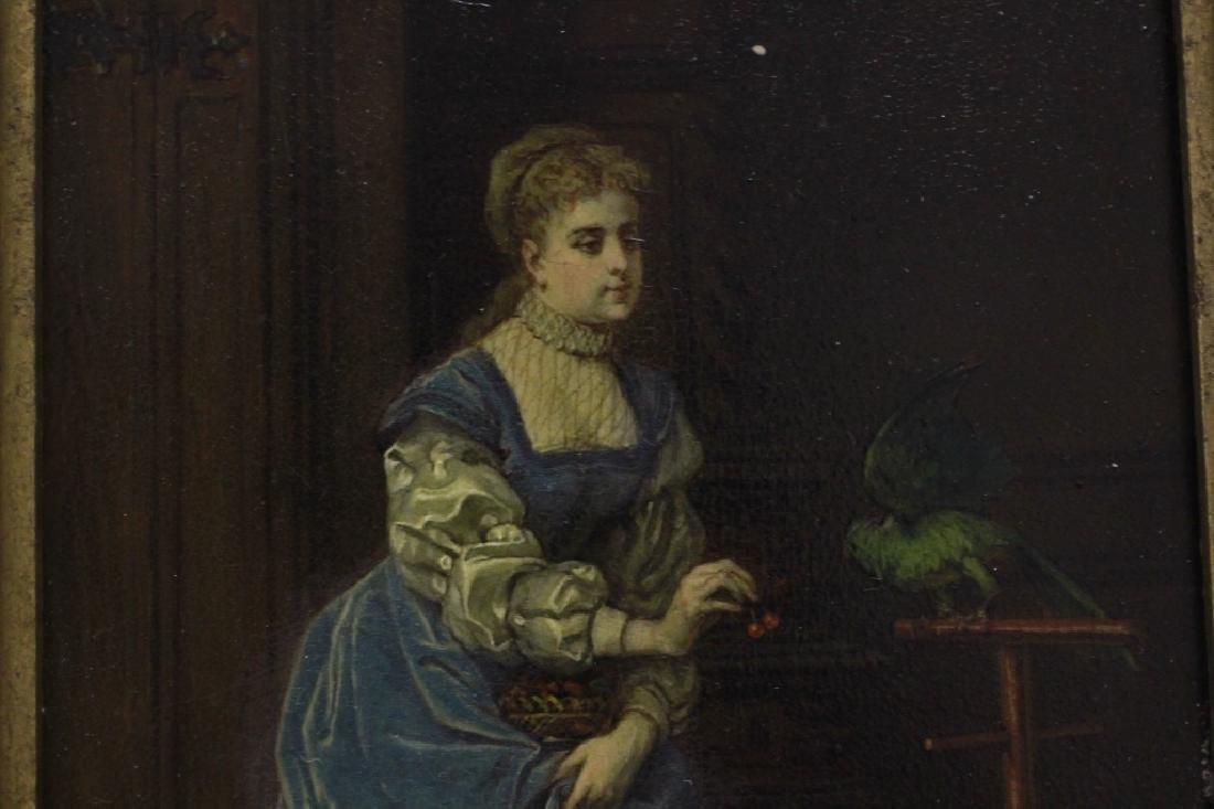 19thc Oil on Board, Woman w/ Parakeet - 3
