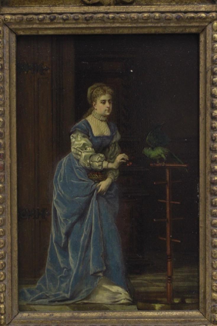 19thc Oil on Board, Woman w/ Parakeet - 7