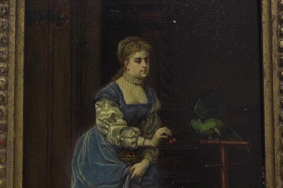 19thc Oil on Board, Woman w/ Parakeet - 8