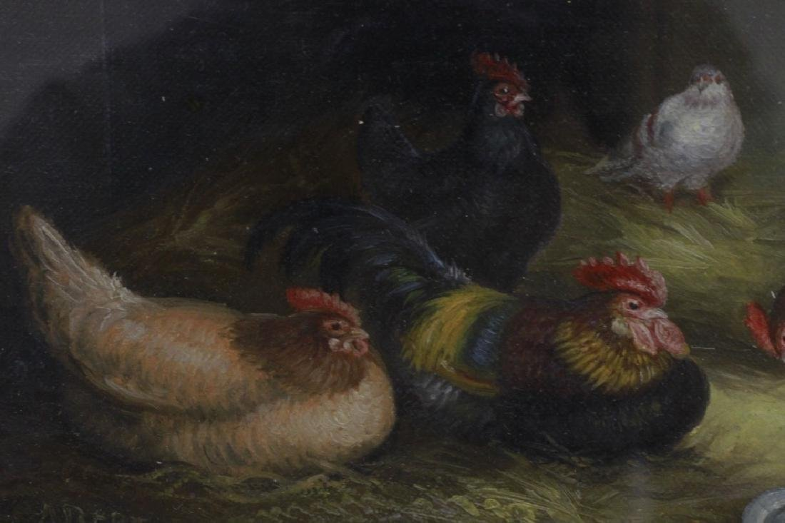 19thc Small Oil on Artist Board, Chickens, Signed - 3