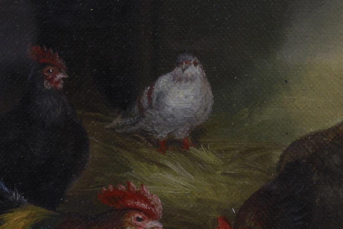 19thc Small Oil on Artist Board, Chickens, Signed - 4