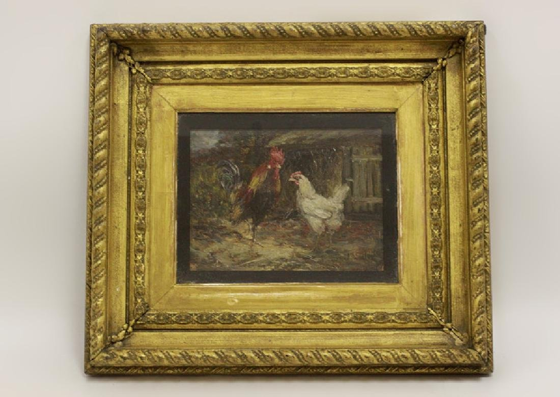 John Slater (1857-1937) Oil, Roosters & Chickens