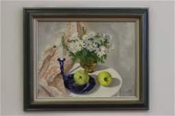 Oil on Canvas Board, Still Life of Flowers & Fruit