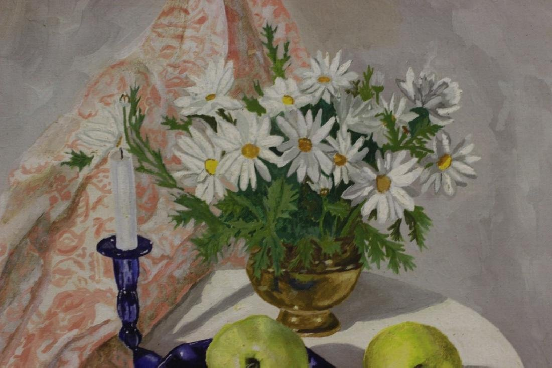 Oil on Canvas Board, Still Life of Flowers & Fruit - 4