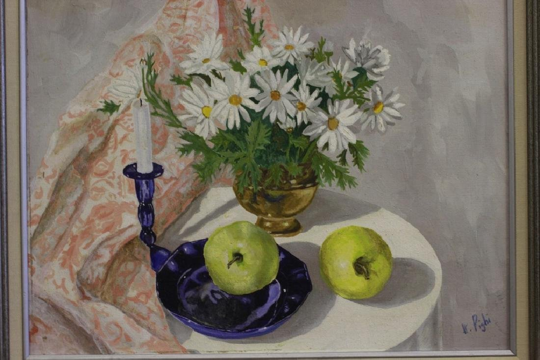 Oil on Canvas Board, Still Life of Flowers & Fruit - 5
