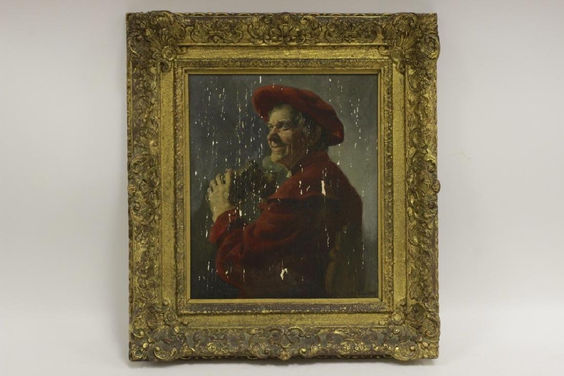 19thc Oil on Wood Painting, Signed A. Riepen, 1894