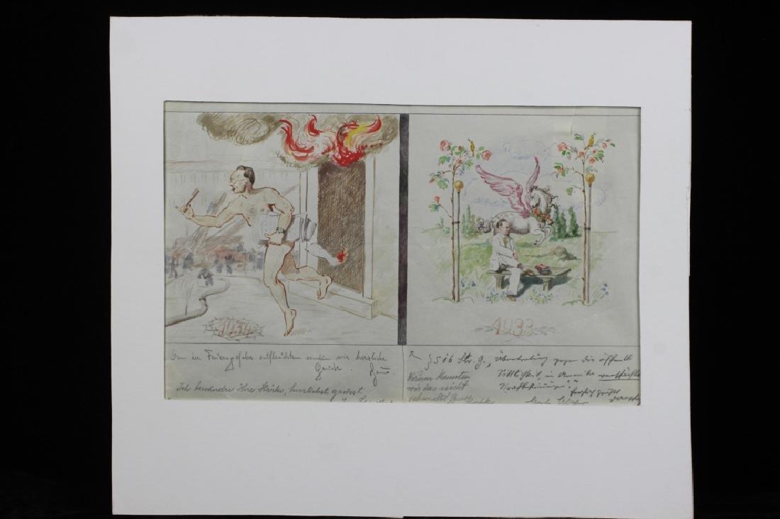 German Watercolor, Dated 1933, 1934
