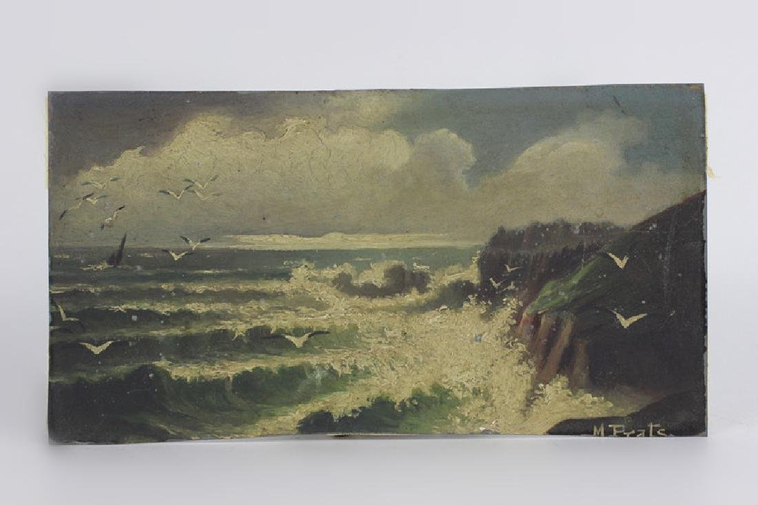 19thc Painting on Tin, Seascape, Signed M. Prats