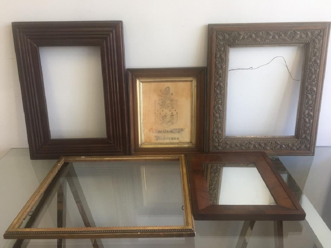 5 Old Frames. 1 with Mirror, 1 with Crest. 3 Empty